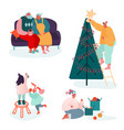 set people characters celebrating merry vector image vector image