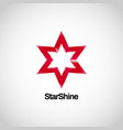 shiny red star logo symbol icon vector image vector image