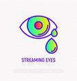 Streaming eye thin line icon