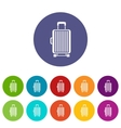 Suitcase on wheels set icons vector image