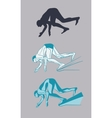 Swimmer At Starting Block Silhouette vector image