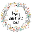 valentines day callygraphic wreath - hand drawn vector image vector image