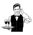 waiter carrying drinks and showing delicious vector image vector image