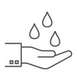 water drops in hand thin line icon vector image vector image