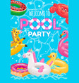 welcome to pool party with inflatable rings toys vector image vector image