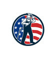 Welder Standing Visor Up USA Flag Circle Retro vector image vector image