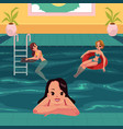 women in pool swimming relaxing leaning on vector image