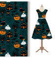 womens dress fabric with halloween pattern vector image vector image