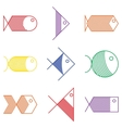 Set of colorful fish icons vector image