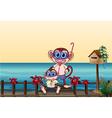 a small and big monkey at the bridge vector image