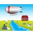Airship on village vector image vector image