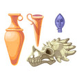 archaeological and paleontological finds cartoon vector image