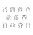 Arches black line icons set vector image vector image