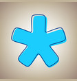asterisk star sign sky blue icon with vector image