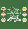 back to school lettering girls and boys pupils vector image