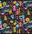 background pattern with sewing and needlework icon vector image