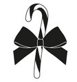 black and white candy cane gift silhouette vector image vector image