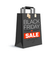 Black paper shopping bag with ad text black vector image