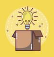 bulb on cardboard box vector image vector image
