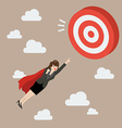Business Woman Super Hero Fly to Big Target vector image