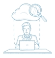 Businessman and cloud computing technology vector image vector image