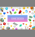 cartoon game design ui elements concept vector image vector image