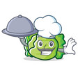 chef with food lettuce character mascot style vector image