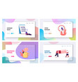 fatigue landing page template set tiny exhausted vector image vector image