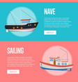 fish business flyers with fishing trawlers vector image