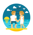 Flat design couple beach walking vector image vector image