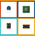 flat icon electronics set of microprocessor vector image vector image