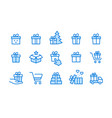 gift box icon set collection present vector image