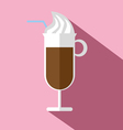 Glass of hot brown coffee with ice cream vector image vector image