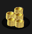 golden coins isolated black background vector image