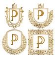 golden vintage monograms set heraldic logos p vector image