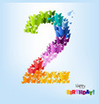 happy birthday card two years vector image vector image