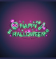 happy halloween neon sign vector image vector image