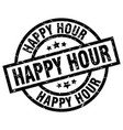 happy hour round grunge black stamp vector image vector image