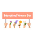 international womens day banner hands hold vector image vector image
