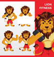 lion fitness mascot character set logo icon vector image vector image