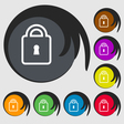 Lock icon sign Symbol on eight colored buttons vector image vector image