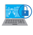 lockpad with a network on a laptop cyber security vector image