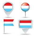 Map pins with flag of Luxembourg vector image