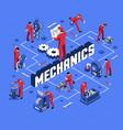 mechanic isometric flowchart vector image vector image