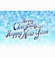 merry christmas and happy new year handwriting vector image
