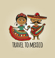 mexican people in national costumes sketch for vector image