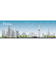 Moscow skyline with grey buildings vector image vector image