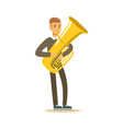 musician man wearing a classic suit playing french vector image