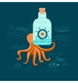 Octopus and ship vector image vector image