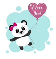 panda with a pink bow holds a pink ball in the vector image